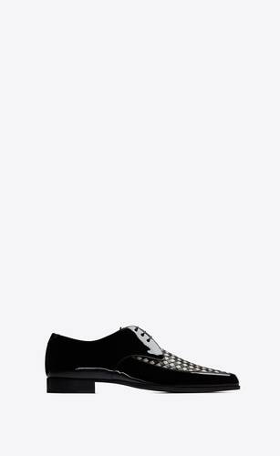 marceau derbies in woven patent and smooth leather