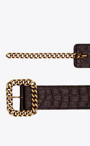 st sulpice belt in crocodile-embossed leather