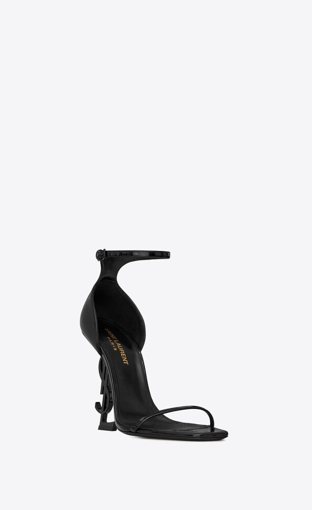 opyum sandals in patent leather with black heel