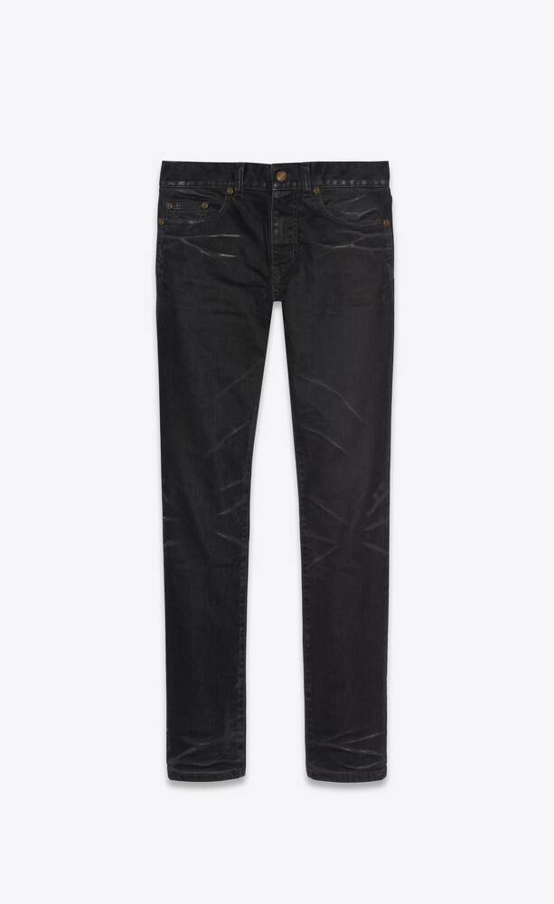 skinny jeans in lightly coated black stretch denim