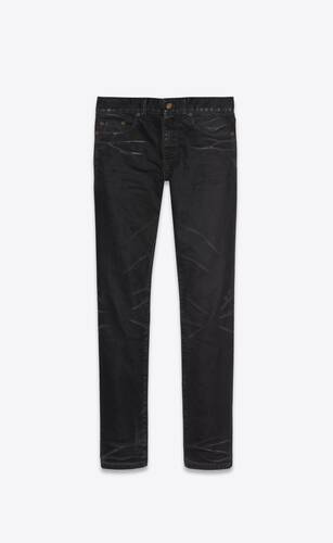 skinny jeans in lightly coated black stretch denim