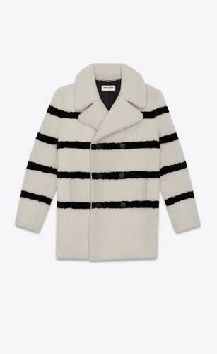pea coat in striped shearling