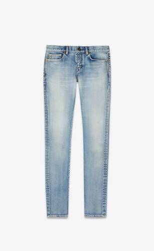 skinny-fit jeans in 80's vintage blue stretch denim
