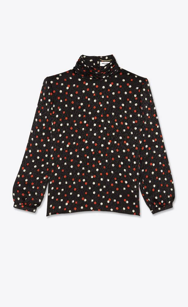 geometric-print turtleneck blouse in silk jacquard