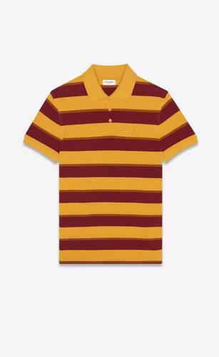 monogram polo shirt in striped cotton piqué