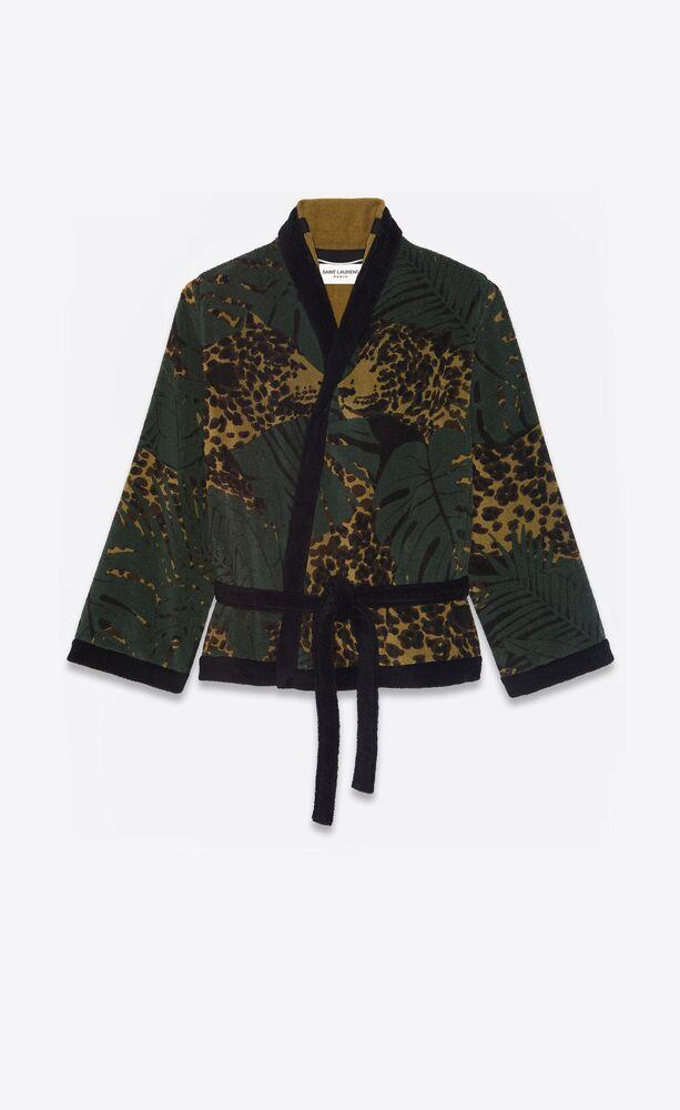 bathrobe in nocturnal leopard cotton