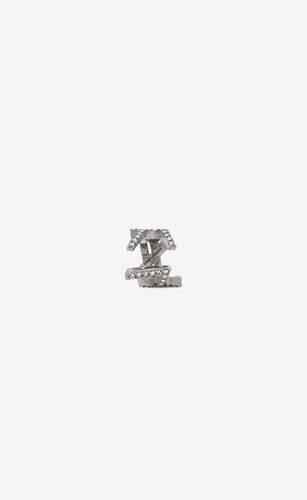 pendiente monogram de metal y cristales