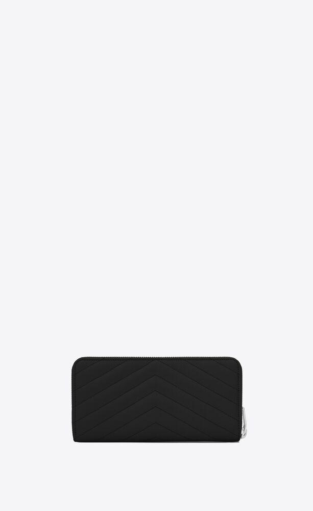 cartera monogram con cremallera integral de piel repujada grain de poudre