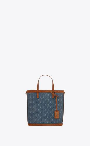 monogram saint laurent n/s toy shopping bag in denim and suede