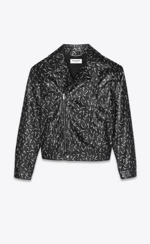 leather jacket with silver embossed details
