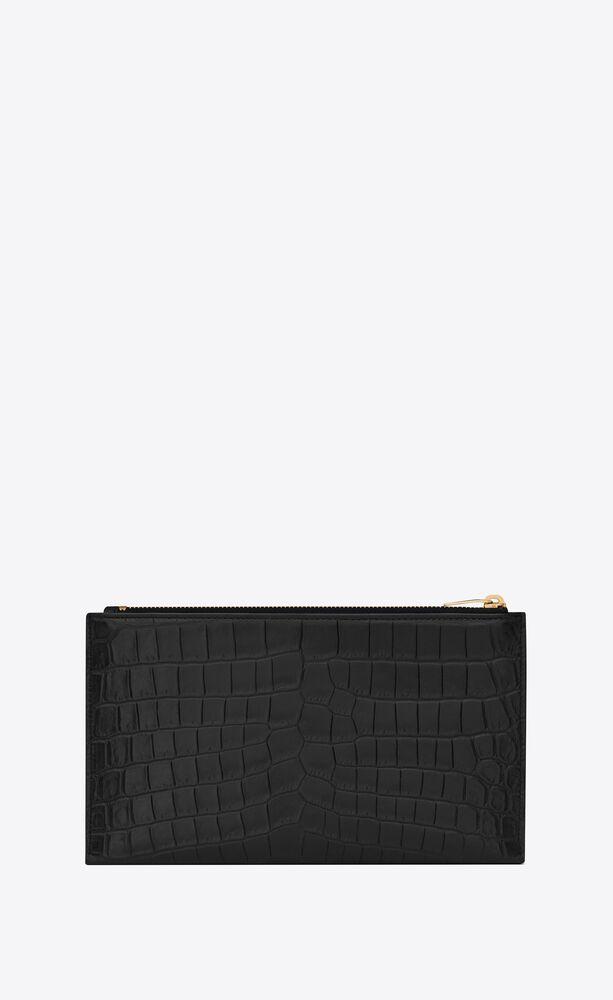 pochette portefeuille mini monogramme en cuir mat embossé façon crocodile