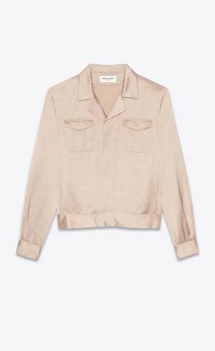 military jacket in flammé satin viscose