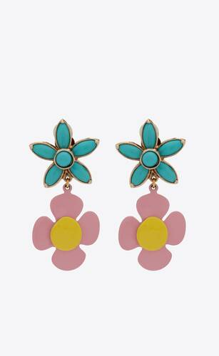 flower pendant earrings in metal, enamel and resin