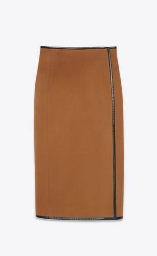 high-rise wrap skirt in flannel wool cashmere and leather