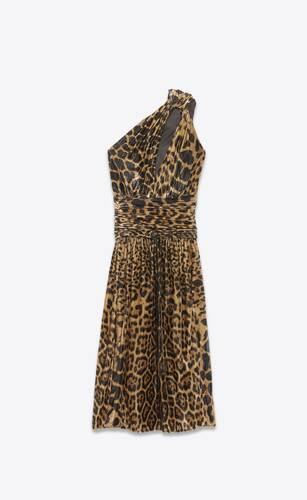 one-shoulder midi dress in pleated leopard-print lamé velvet