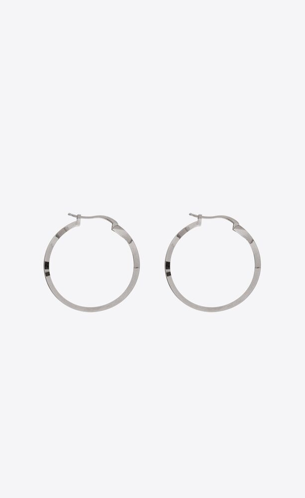 three-sided hoop earrings in metal
