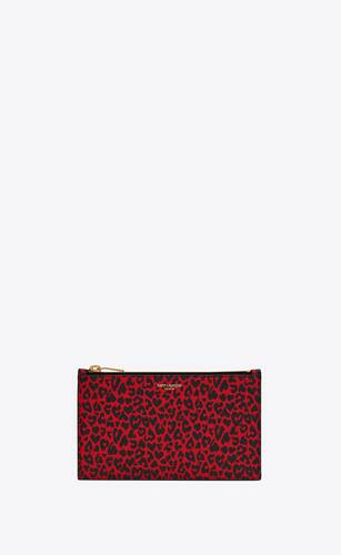 saint laurent paris small pouch in leopard-print leather