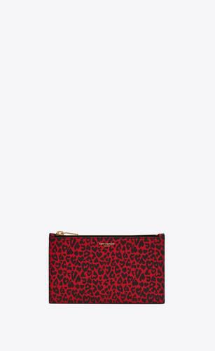 pochette small saint laurent paris en cuir à imprimé léopard