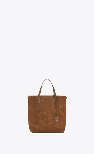 shopping bag saint laurent n/s toy in crocodile-embossed suede and smooth leather