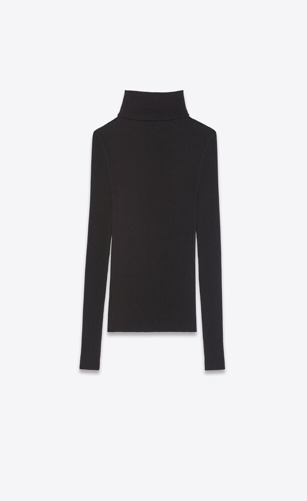 ribbed turtleneck sweater in cashmere, wool and silk