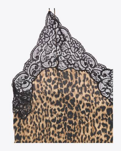 nightgown in leopard-print silk charmeuse and lace