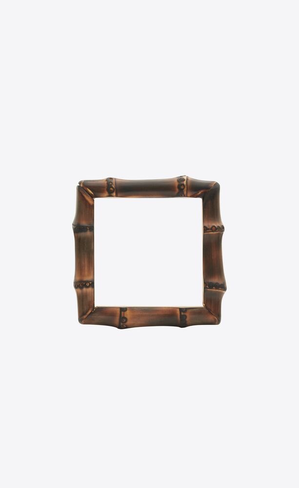 bamboo square bangle in metal and wood