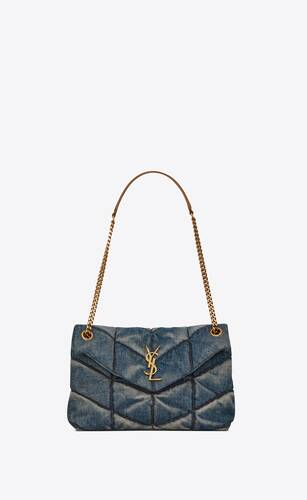 puffer small bag in quilted vintage denim and suede