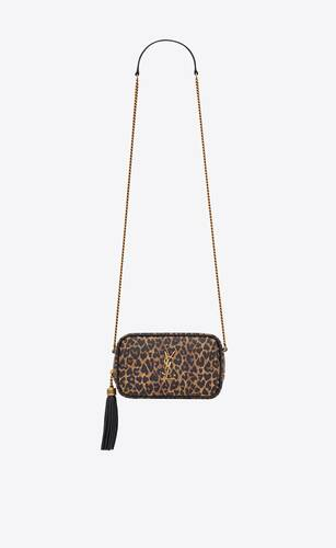 lou mini bag in heart-shaped leopard-print leather