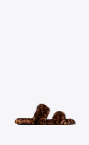 bleach mules in leopard mink