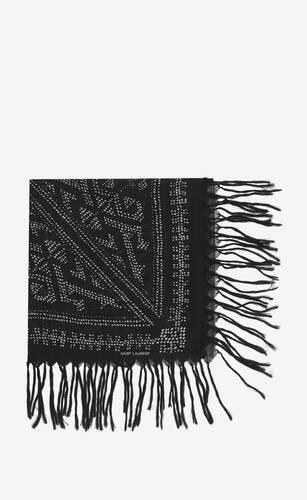 sciarpa quadrata grande con frange in étamine di lana a pois