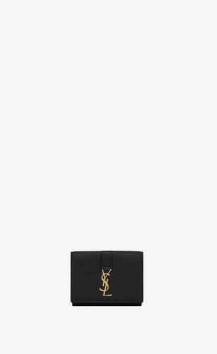 kleines ysl-portemonnaie aus schwarzem leder