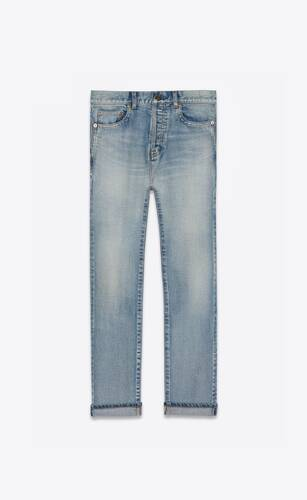 straight-fit jeans in 80's vintage blue stretch denim