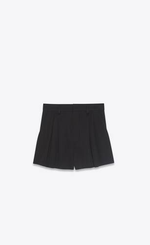 pleated shorts in wool twill