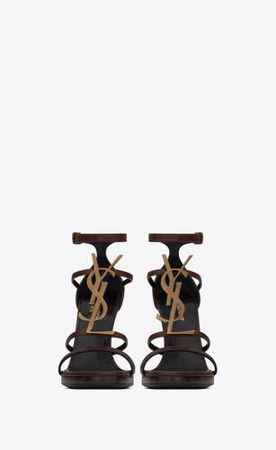 cassandra wedge sandals in smooth leather with gold-tone monogram