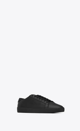 sneakers court classicsl/06 con bordados de piel lisa y nobuk repujado de pitón