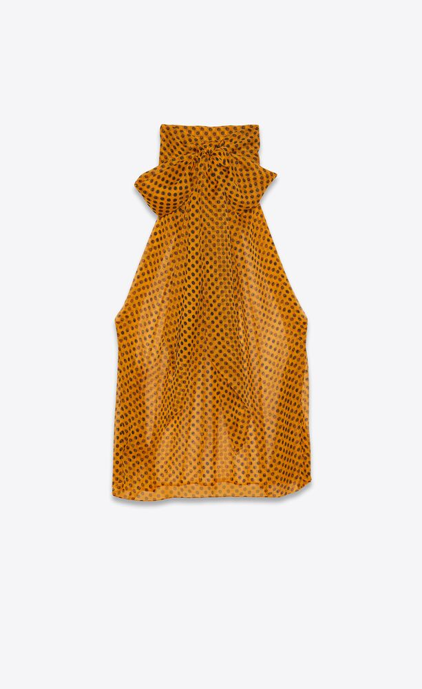 lavallière-neck sleeveless blouse in dotted silk muslin