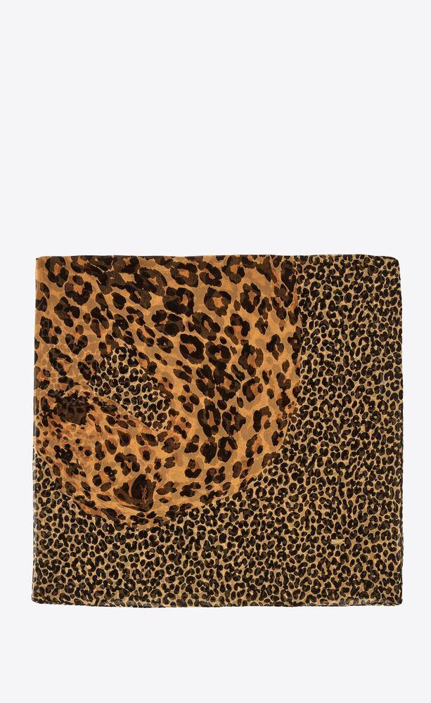 leopard saint laurent large square scarf in silk muslin