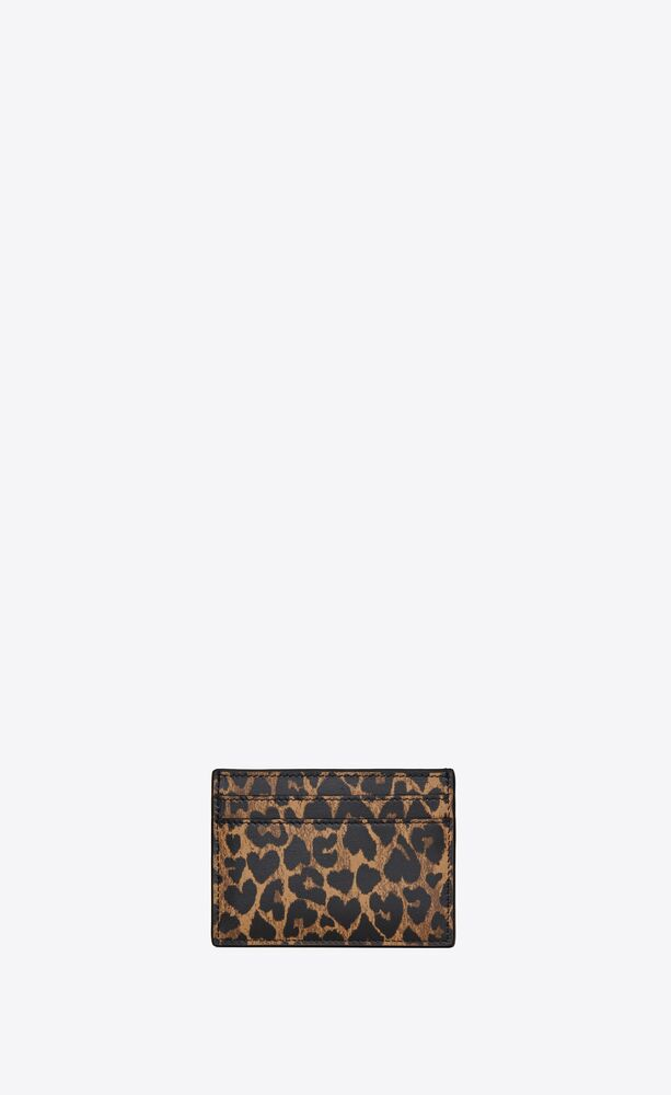 monogram card case in heart-shaped leopard-print leather