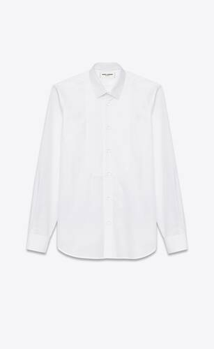 hemd mit yves-kragen aus weißem baumwollpopelin mit piquéplastron
