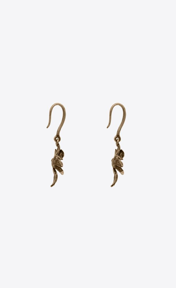 orchid drop earrings in metal