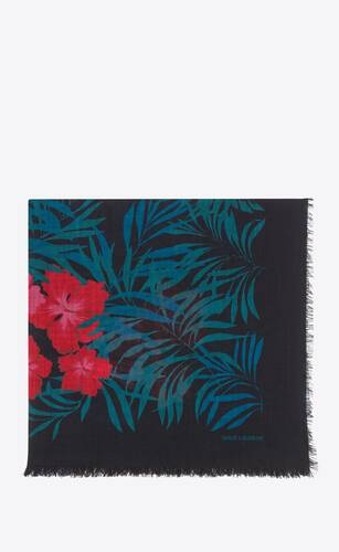 large square scarf in tropical hibiscus wool etamine