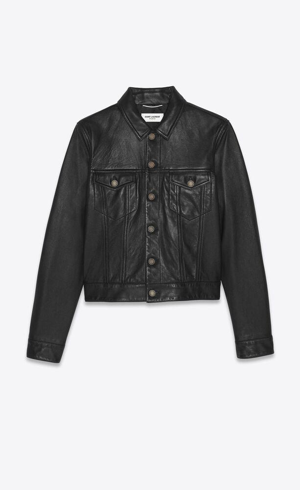 denim jacket in smooth drummed lambskin
