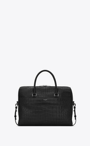 duffle saint laurent porte-documents en cuir mat embossé crocodile