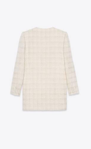 long coat in check wool and silk tweed