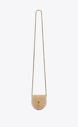 le k baby satchel in shearling and smooth leather