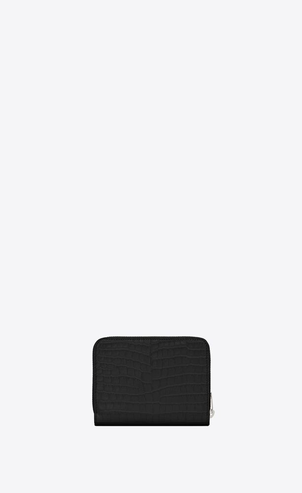 monogram compact zip around wallet in crocodile embossed shiny leather