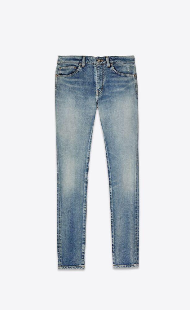skinny-fit jeans in 80's sea blue stretch denim