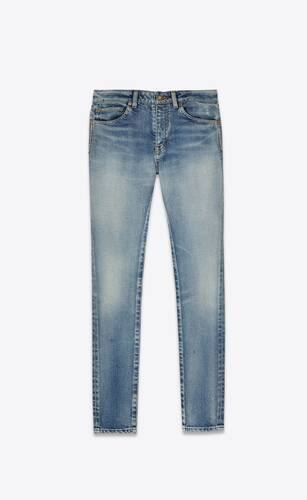 skinny-fit jeans in 80's sea blue stretch denim