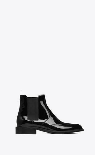 army chelsea boots in patent leather