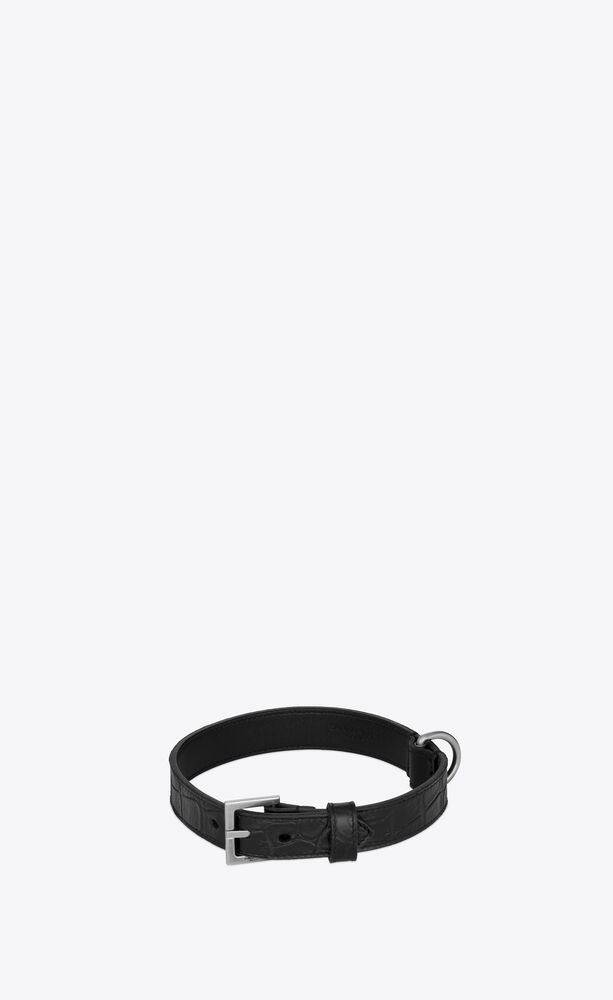 dog collar in crocodile-embossed leather